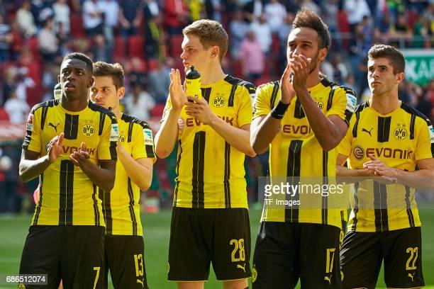 Ousmane Dembele of Dortmund Raphael Guerreiro of Dortmund Matthias Ginter of Dortmund PierreEmerick Aubameyang of Dortmund und Christian Pulisic of...