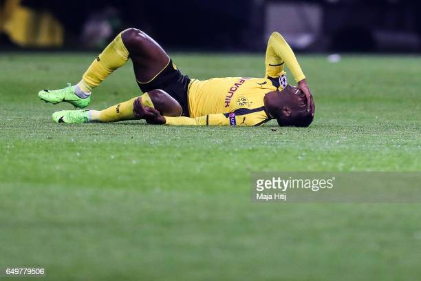 Ousmane Dembele of Dortmund reacts during the UEFA Champions League Round of 16 second leg match between Borussia Dortmund and SL Benfica at Signal...