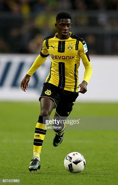 Ousmane Dembele of Dortmund runs with the ball during the Bundesliga match between Borussia Dortmund and Borussia Moenchengladbach at Signal Iduna...
