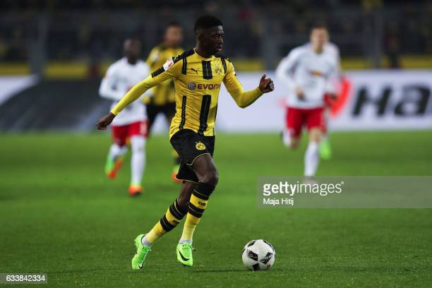 Ousmane Dembele of Dortmund runs with the ball during the Bundesliga match between Borussia Dortmund and RB Leipzig at Signal Iduna Park on February...
