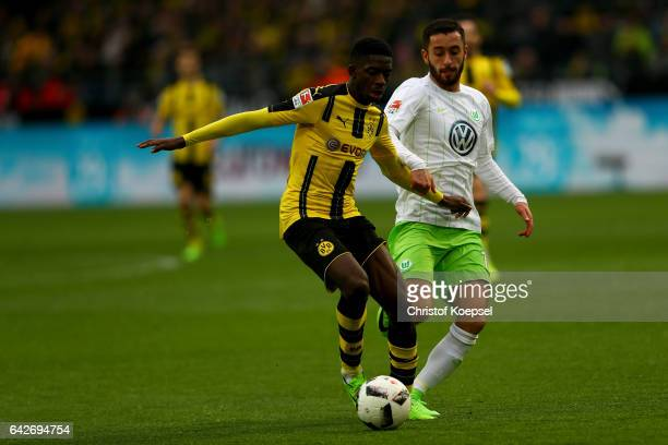 Ousmane Dembele of Dortmund runs with the ball during the Bundesliga match between Borussia Dortmund and VfL Wolfsburg at Signal Iduna Park on...