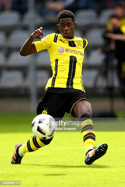 Ousmane Dembele of Dortmund runs with the ball during the friendly match between Wuppertaler SV and Borussia Dortmund at Stadion Zoo on July 9 2016...