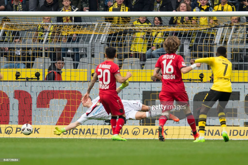 Ousmane Dembele of Dortmund scores a goal during the Bundesliga match between Borussia Dortmund and Bayer 04 Leverkusen at Signal Iduna Park on March 4, 2017 in Dortmund, Germany.