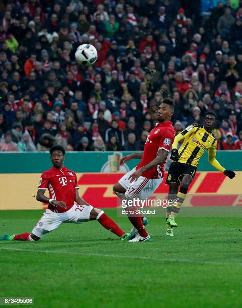 Ousmane Dembele of Dortmund scores the 3rd goal during the DFB Cup semi final match between FC Bayern Muenchen and Borussia Dortmund at Allianz Arena...