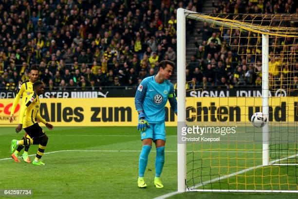 Ousmane Dembele of Dortmund scores the third goal against Diego Benaglio of Wolfsburg during the Bundesliga match between Borussia Dortmund and VfL...