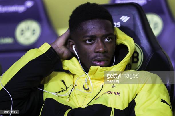 Ousmane Dembele of Dortmund sits on the bench prior the Bundesliga match between Borussia Dortmund and RB Leipzig at Signal Iduna Park on February 4...