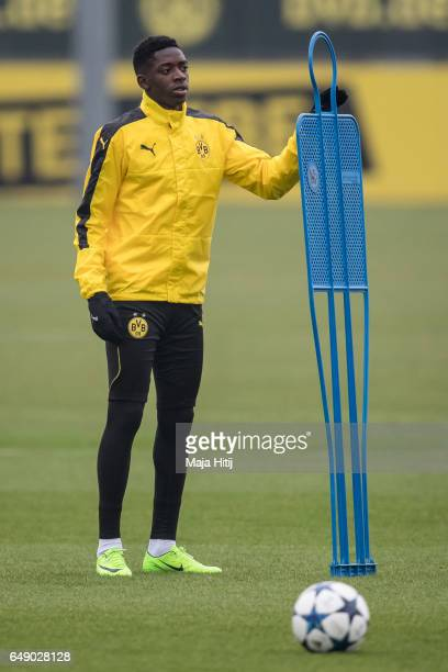 Ousmane Dembele of Dortmund stands during the training of Borussia Dortmund ahead of the UEFA Champions League Round of 16 second leg match between...