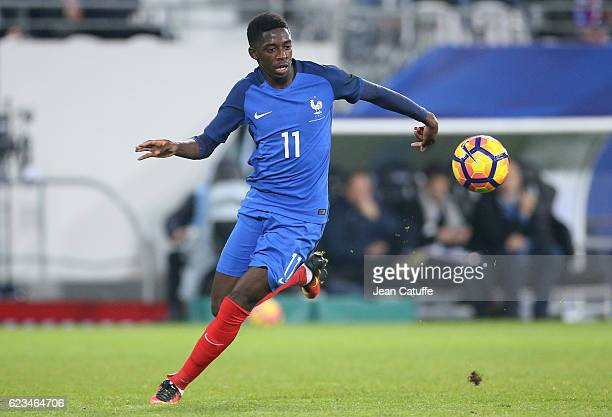 Ousmane Dembele of France in action during the international friendly match between France and Ivory Coast at Stade Felix Bollaert Delelis on...