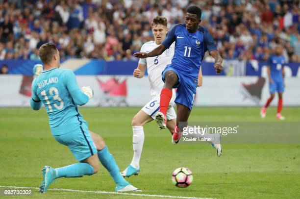 Ousmane Dembele of France in action during the International Friendly match between France and England at Stade de France on June 13 2017 in Paris...