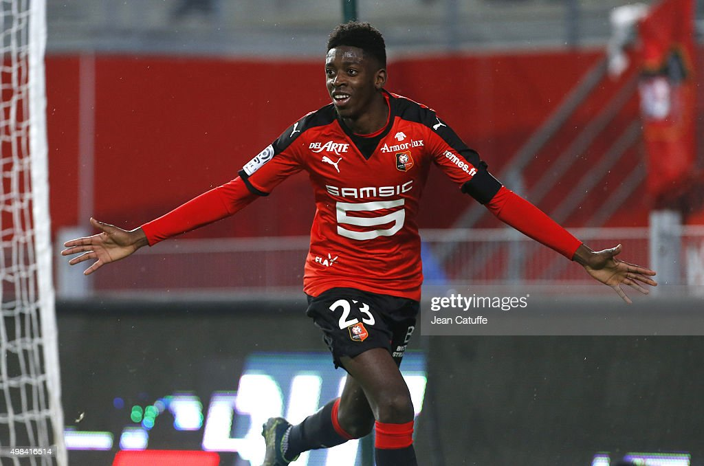 Ousmane Dembele of Rennes celebrates his goal during the French Ligue 1 match between Stade Rennais and Girondins de Bordeaux at Roazhon Park stadium...