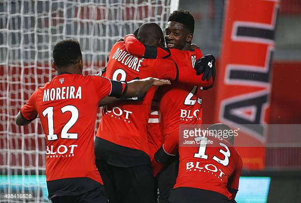 Ousmane Dembele of Rennes celebrates his goal with teammates during the French Ligue 1 match between Stade Rennais and Girondins de Bordeaux at...