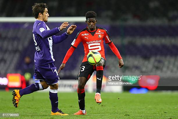 Ousmane Dembele of Rennes during the French Ligue 1 Toulouse FC v Stade Rennais at Stadium Municipal on February 27 2016 in Toulouse France