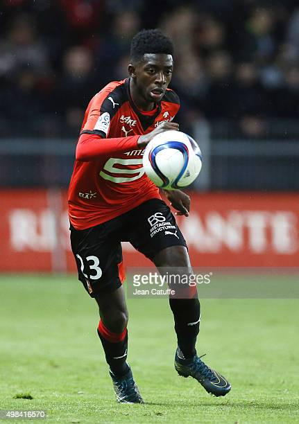 Ousmane Dembele of Rennes in action during the French Ligue 1 match between Stade Rennais and Girondins de Bordeaux at Roazhon Park stadium on...
