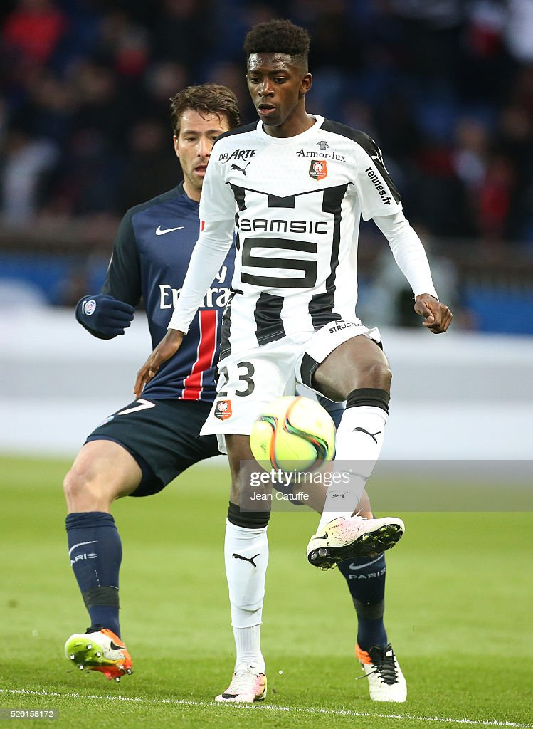 Ousmane Dembele of Rennes in action during the French Ligue 1 match between Paris Saint-Germain (PSG) and Stade Rennais FC at Parc des Princes stadium on April 29, 2016 in Paris, France.