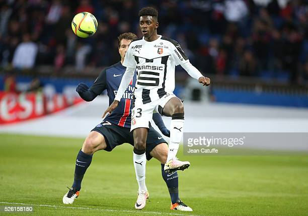 Ousmane Dembele of Rennes in action during the French Ligue 1 match between Paris SaintGermain and Stade Rennais FC at Parc des Princes stadium on...
