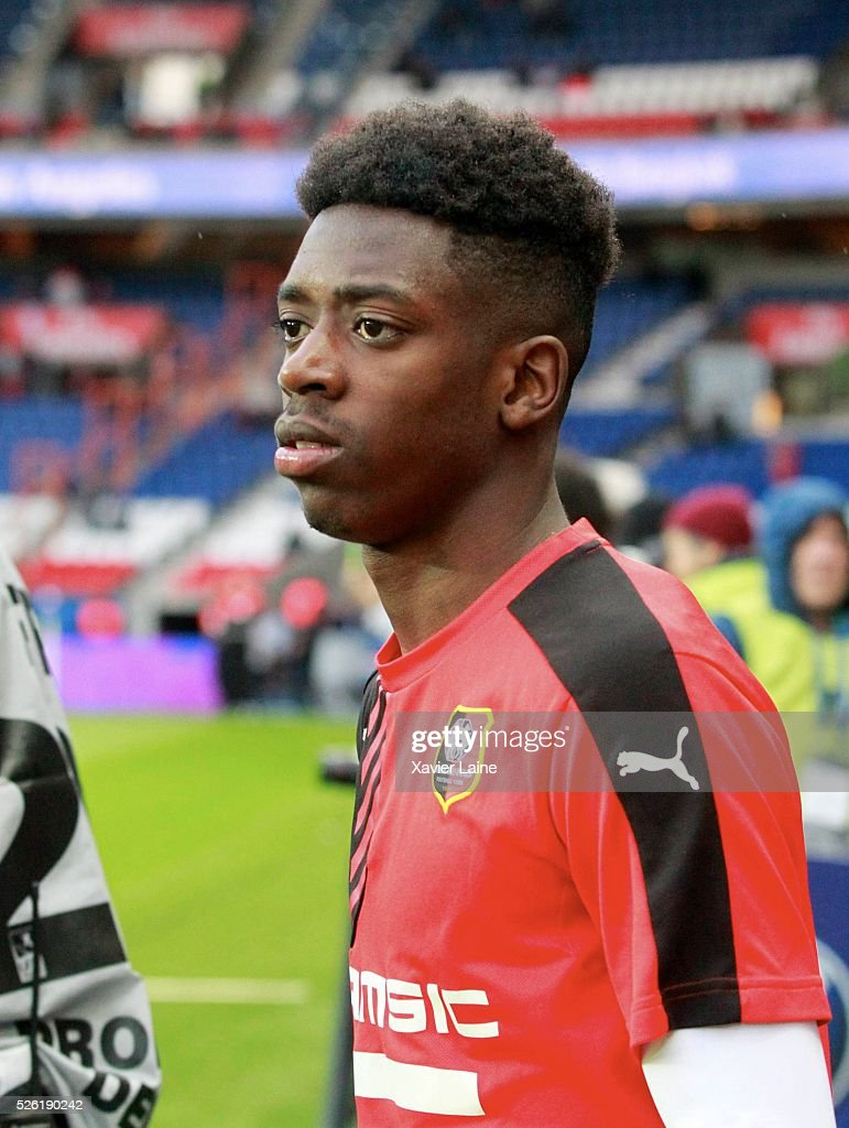 Ousmane Dembele of Stade Rennais during the French Ligue 1 match between Paris Saint-Germain and Stade Rennais at Parc des Princes on April 29, 2016 in Paris, France.