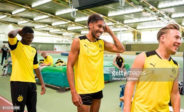 Ousmane Dembele PierreEmerick Aubameyang and Felix Passlack of Dortmund looks on during the Lactate Test on July 7 2017 in Dortmund Germany
