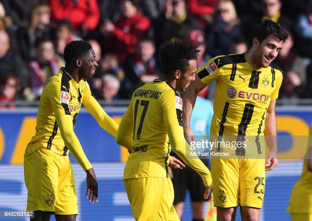 Ousmane Dembele PierreEmerick Aubameyang and Sokratis of Borussia Dortmund celebrate the goal of Sokratis during the Bundesliga match between Sport...