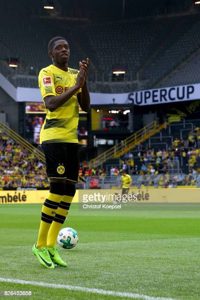 Ousmane Dembele welcomes the fans during the Borussia Dortmund Season Opening 2017/18 at Signal Iduna Park on August 4 2017 in Dortmund Germany