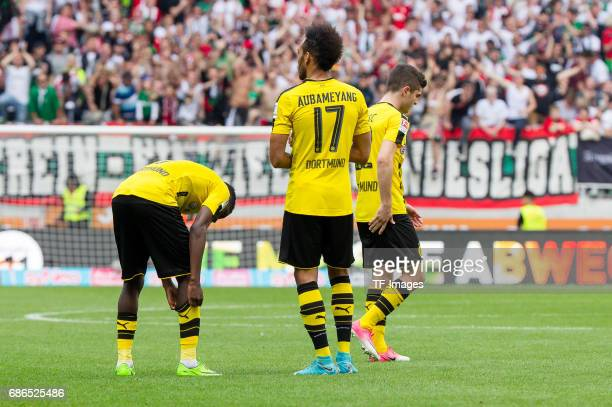 Ousmane DembelePierreEmerick Aubameyang of Dortmund Christian Pulisic of Dortmund looks dejected during the Bundesliga match between FC Augsburg and...