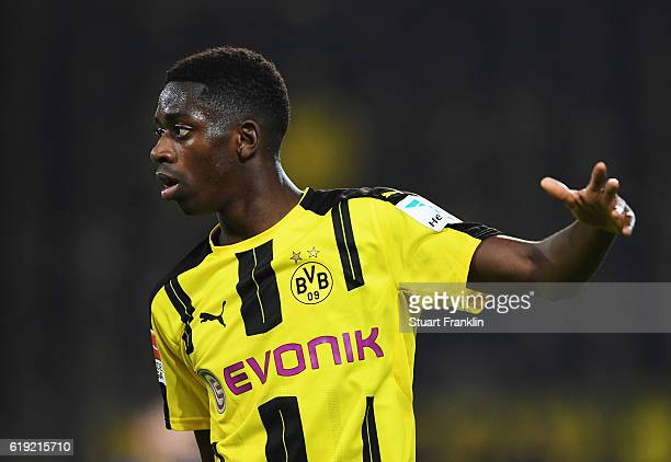 Ousmane Dembélé of Dortmund reacts during the Bundesliga match between Borussia Dortmund and FC Schalke 04 at Signal Iduna Park on October 29 2016 in...
