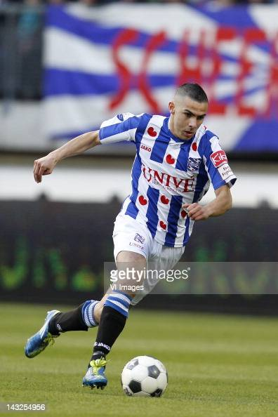 Oussama Assaidi of sc Heerenveen during the Dutch Eredivisie match between SC Heerenveen and Vitesse Arnhem at the Abe Lenstra stadium on April 21...
