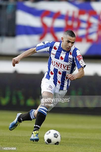 Oussama Assaidi of sc Heerenveen during the Dutch Eredivisie match between SC Heerenveen and Vitesse Arnhem at the Abe Lenstra stadium on April 21...