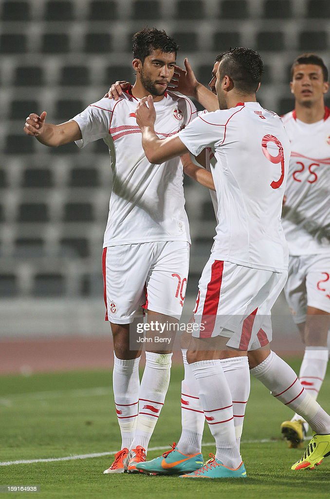 Oussama Darragi of Tunisia celebrates his goal during the international friendly game between Tunisia and Ethiopia at the Al Wakrah Stadium on January 7, 2013 in Doha, Qatar.
