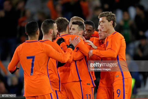 Oussama Idrissi of Holland U21 celebrate 30 with Justin Kluivert of Holland U21 Bart Ramselaar of Holland U21 Pablo Rosario of Holland U21 Sam...