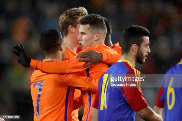 Oussama Idrissi of Holland U21 celebrates 40 with Justin Kluivert of Holland U21 Frenkie de Jong of Holland U21 during the match between Holland U21...