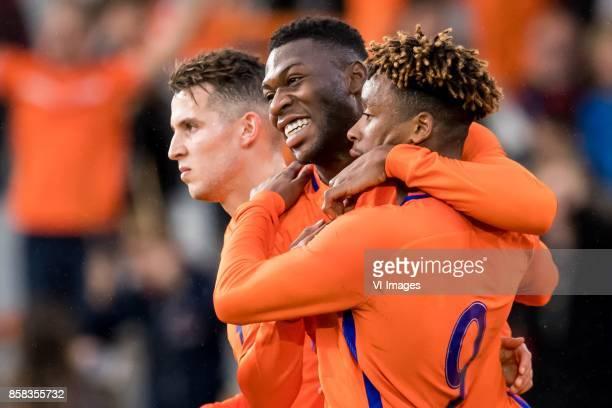 Oussama Idrissi of Jong Oranje Timothy FosuMensah of Jong Oranje Steven Bergwijn of Jong Oranje 20 during the EURO U21 2017 qualifying match between...
