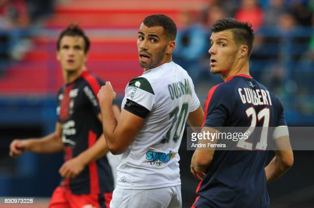 Oussama Tannane of Saint Etienne and Frederic Guilbert of Caen during the Ligue 1 match between SM Caen and AS Saint Etienne at Stade Michel D'Ornano...