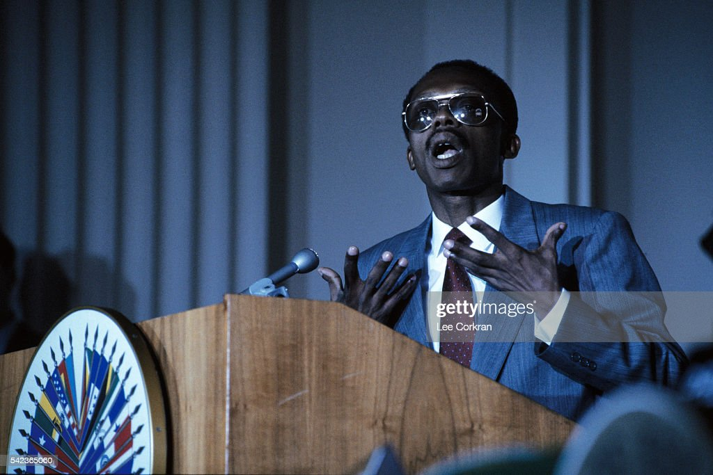 Ousted President of Haiti JeanBertrand Aristide speaks before the Organizaion of American States