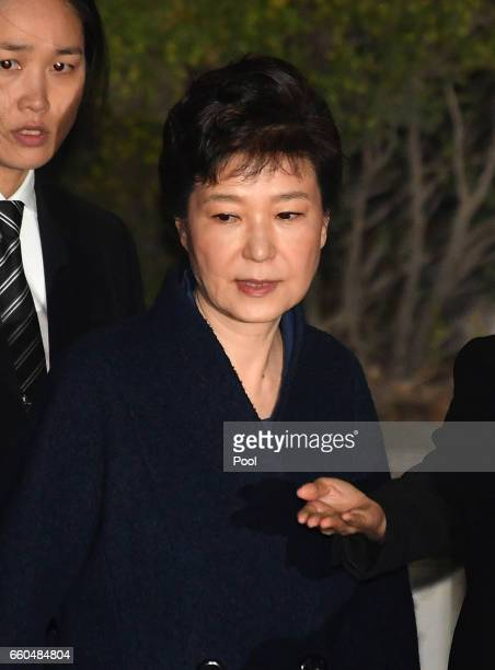 Ousted South Korean President Park Geunhye leaves after hearing on a prosecutors' request for her arrest for corruption at the Seoul Central District...