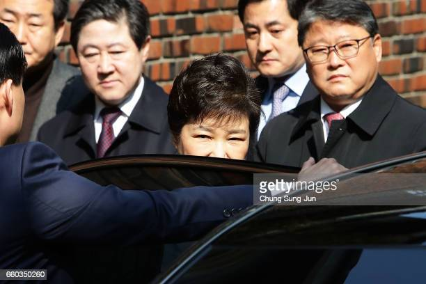 Ousted South Korean President Park Geunhye leaves for Seoul Central District Court from her private home on March 30 2017 in Seoul South Korea A...
