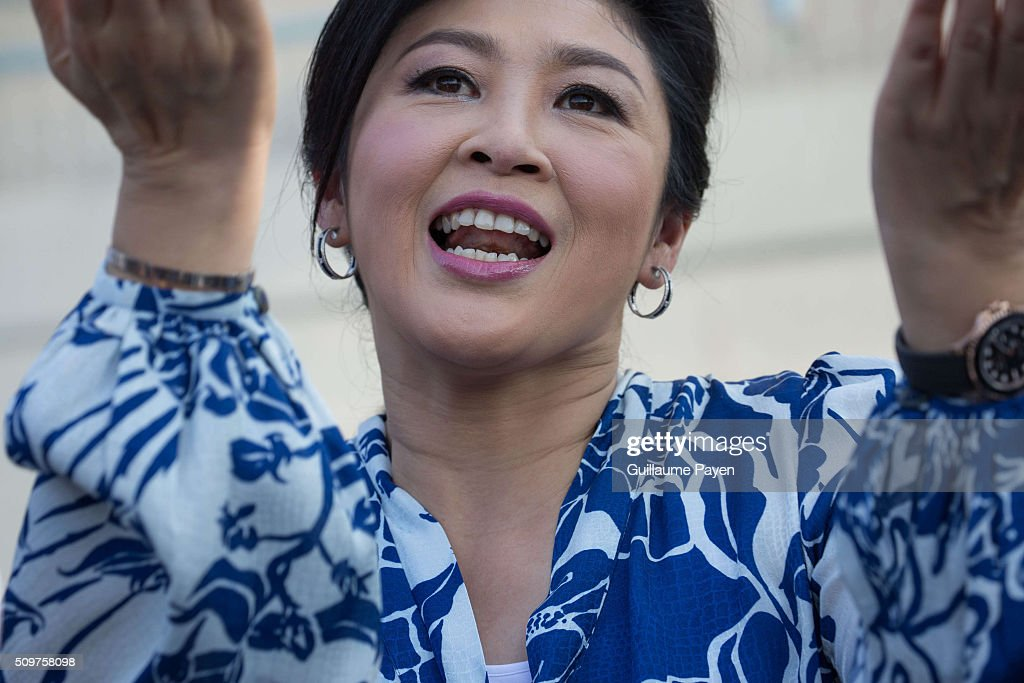 Ousted Thailand's former Prime Minister Yingluck Shinawatra receiving foreign media for the first time at her house for a news conference.