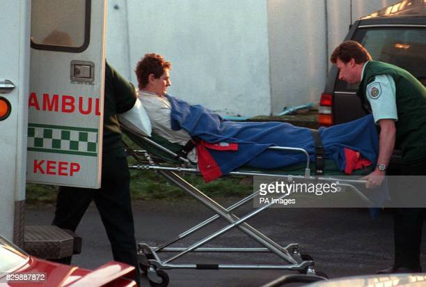 Out of action top National Hunt jockey Mark Dwyer is stretchered into an ambulance at Hexham Racecourse today after breaking his arm in a fall in the...
