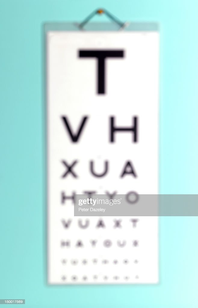 Out of focus eye test chart : Stock Photo