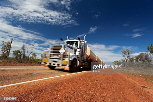 Out of focused shot of an fuel tanker