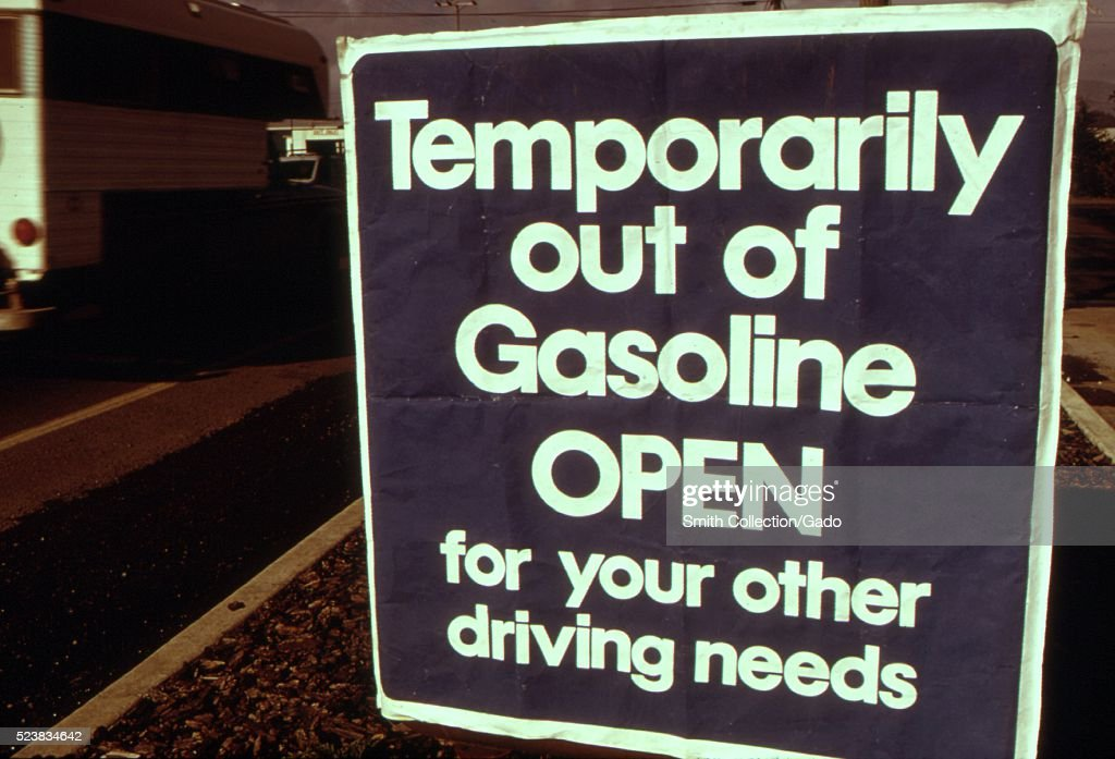 Out of gasoline signs were increasingly evident in Oregon during the month of October 1973 Stations such as this one at Lincoln city along the coast...