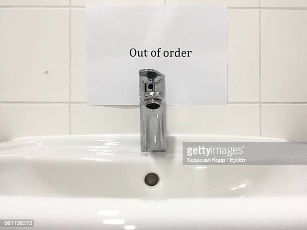 Out Of Order Warning On Sink