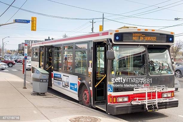 AVE TORONTO ONTARIO CANADA Out of service TTC bus due to traffic jam passengers were complaining about the driver way of braking he replied that the...