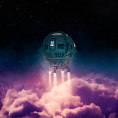 3D render of spaceship rising above clouds