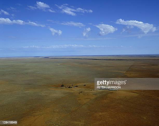 outback homestead, qld, australia (aerial)