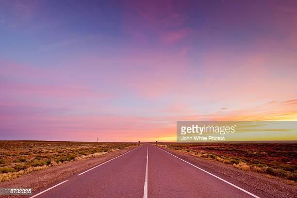 Outback sunrise on remote Stuart Highway