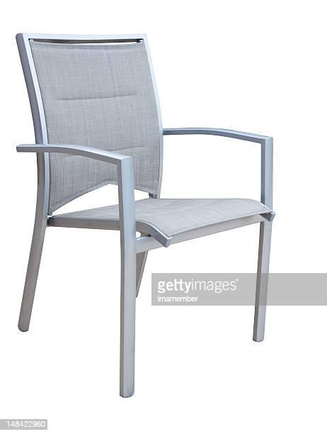 Outdoor-aluminium Stuhl, isoliert auf weißem Hintergrund