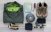 A collection of things you need for a hiking tour
