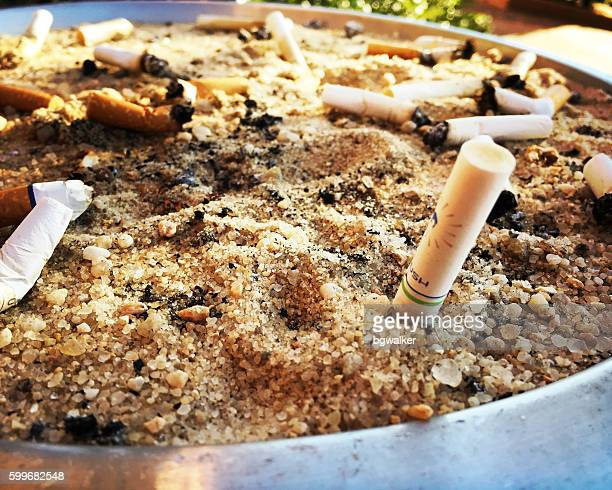 Outdoor Ashtry with Cigarette Butts