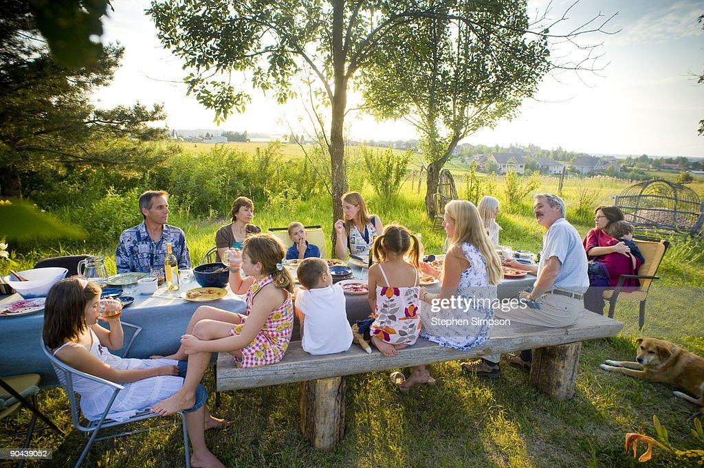 outdoor, backyard, Summer dinner : Stock Photo
