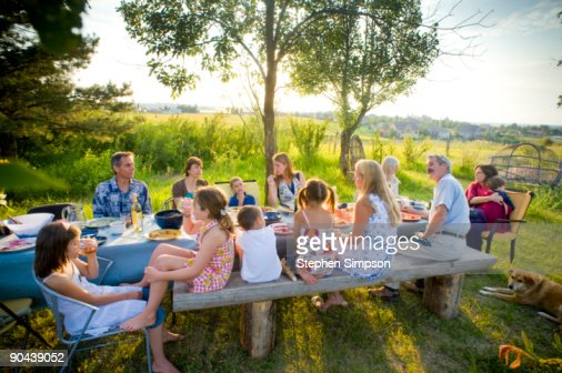 outdoor, backyard, Summer dinner : Stock Photo